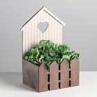 Кашпо-домик с заборчиком «Полоска», 15 х 11 х 25 см - фото 407587