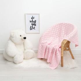 """Вязаный плед """"Крошка Я"""" Бэби, размер 90х90 см, розовый"""