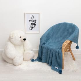 """Вязаный плед """"Крошка Я"""" Рисунок кубик, 90х90 см, голубой"""
