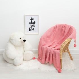 """Вязаный плед """"Крошка Я"""" Рисунок кубик, 90х90 см, розовый"""