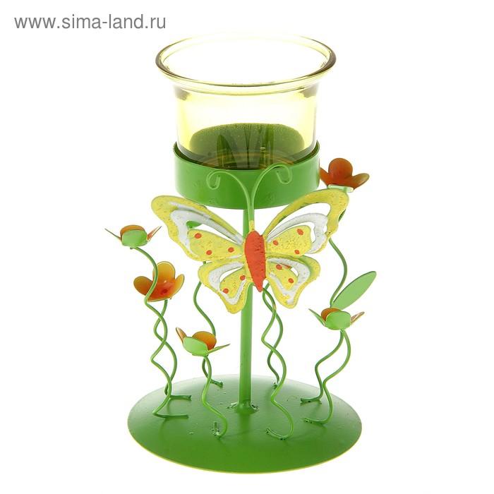 """Подсвечник """"Бабочка на полянке"""", цвет зеленый"""