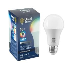Лампа светодиодная с ИК сенсором Uniel, А60, 10 Вт, Е27, матовая, RGB