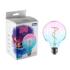 Лампа светодиодная Uniel SOHO, 4 Вт, Е27, 300 Лм, синяя, винная колба, спиральный филамен