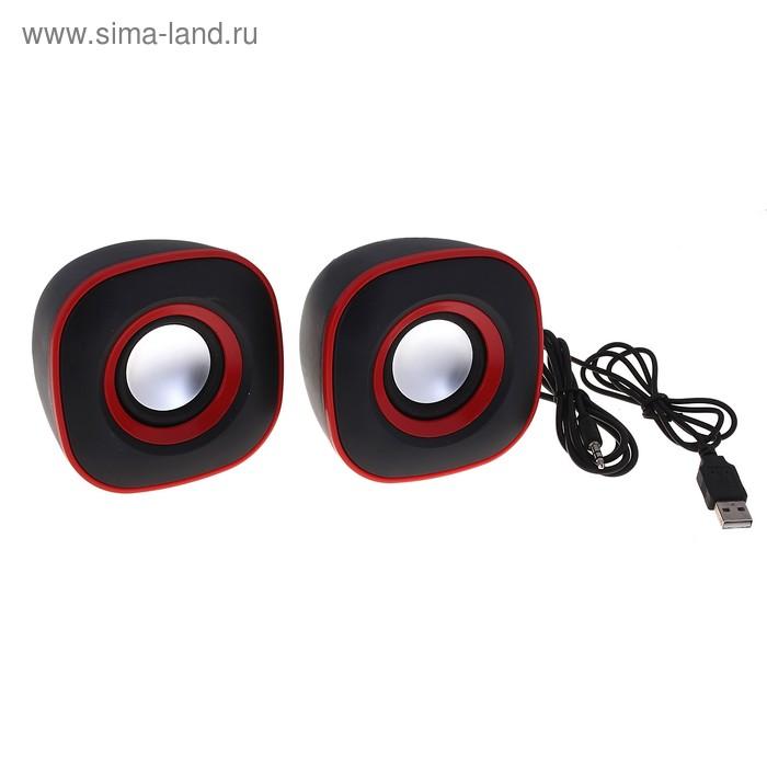 Портативные колонки USB для ПК/разъем 3,5, 023, черные с красным