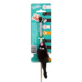 """Дразнилка-удочка для кошек """"Зооник"""" """"Мышка"""", 50 см, натуральный мех, микс цветов"""