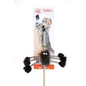 """Дразнилка-удочка для кошек  """"Зооник"""" """"Норковый паук"""", 50 см, натуральный мех, микс цветов"""