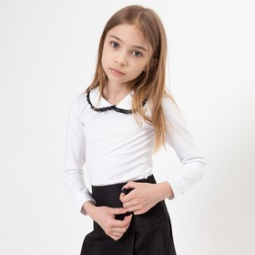 Школьная блузка для девочки, цвет белый, рост 122
