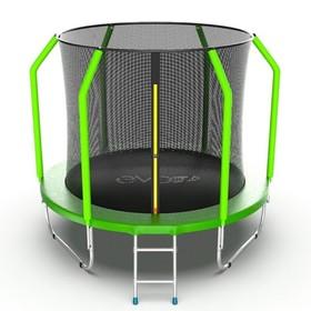 Батут EVO JUMP Cosmo 8 ft, d=244 см, с внутренней защитной сеткой и лестницей, зелёный