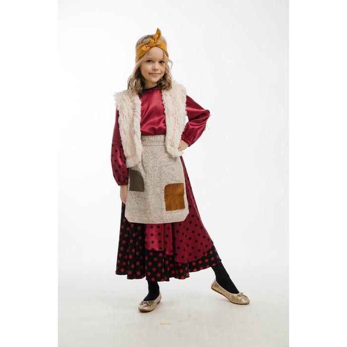 Карнавальный костюм «Баба-Яга», юбка, блуза, жилет, фартук, головной убор, р. 34, рост 134 см - фото 105520385
