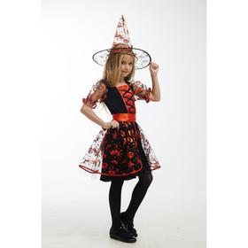 Карнавальный костюм «Ведьма в красном», платье, головной убор, пояс, р. 30, рост 122 см