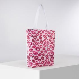 Сумка текстильная, отдел на молнии, с подкладом, цвет белый/розовый
