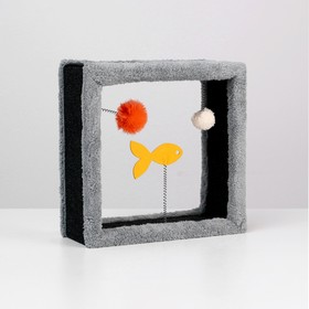 """Игрушка для кошек с 3 дразнилками """"Куб"""", 35 х 35 х 15 см, микс цветов"""