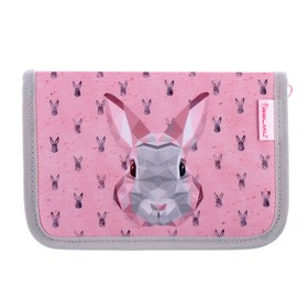 Пенал 1 секция, откидные 2 планки, 140 х 200, ткань, Belmil, для девочки, Bunny, розовый