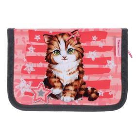Пенал 1 секция, откидные 2 планки, 140 х 200, ткань, Belmil, для девочки, Cute Kitten, розовый