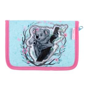 Пенал 1 секция, откидные 2 планки, 140 х 200, ткань, Belmil, для девочки, Koala, розовый/голубой