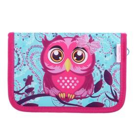 Пенал 1 секция, откидные 2 планки, 140 х 200, ткань, Belmil, для девочки, Pinky Owl, розовый/голубой