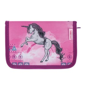 Пенал 1 секция, откидные 2 планки, 140 х 200, ткань, Belmil, для девочки, Pinky Unicorn, сиреневый