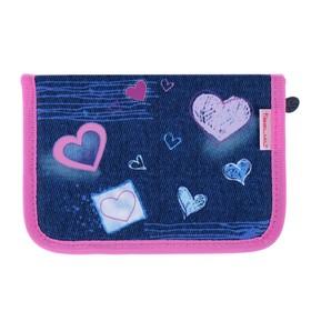 Пенал 1 секция, откидные 2 планки, 140 х 200, ткань, Belmil, для девочки, Purple Love, синий