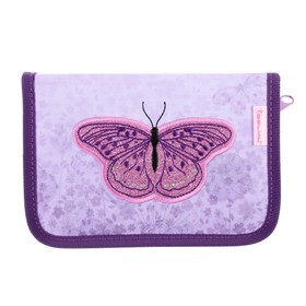 Пенал 1 секция, откидные 2 планки, 140 х 200, ткань, Belmil, для девочки, Shiny Butterfly, сиреневый