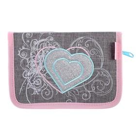 Пенал 1 секция, откидные 2 планки, 140 х 200, ткань, Belmil, для девочки, Trendy Love, серый