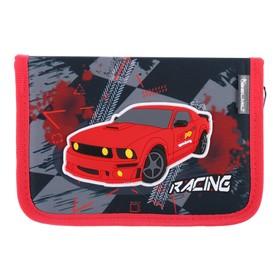Пенал 1 секция, откидные 2 планки, 140 х 200, ткань, Belmil, для мальчика, Street Racing, чёрный/красный