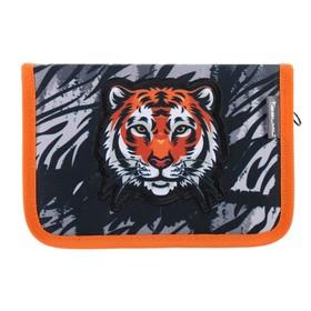 Пенал 1 секция, откидные 2 планки, 140 х 200, ткань, Belmil, Wild Tiger, чёрный
