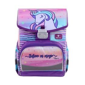 Ранец на замке Belmil Click 35 х 26 х 17, для девочки, Believe in Magic, сиреневый
