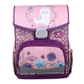 Ранец на замке Belmil Click 35 х 26 х 17, для девочки, Llama, сиреневый/розовый