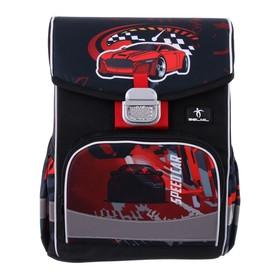 Ранец на замке Belmil Click 35 х 26 х 17, для мальчика, Speed Car, чёрный/красный