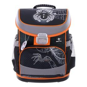 Ранец на замке Belmil Mini-Fit 36 х 28 х 17, для мальчика, Spider, чёрный