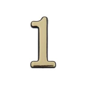 "Figure door ""1"", small, plastic, self-adhesive ,color gold"