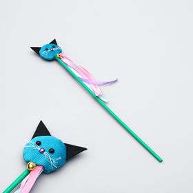 """Дразнилка """"Киса"""" с кошачьей мятой и лентами, палочка 35 см, микс цветов"""