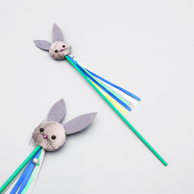 """Teaser """"Bunny"""" with Catnip and ribbons, wand 35 cm, mix colors"""