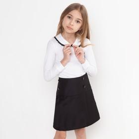 Школьная юбка для девочки, цвет чёрный, рост 134