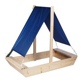 Песочница деревянная с крышей, 200 × 100 × 24 см, без покраски, «Маленький капитан»