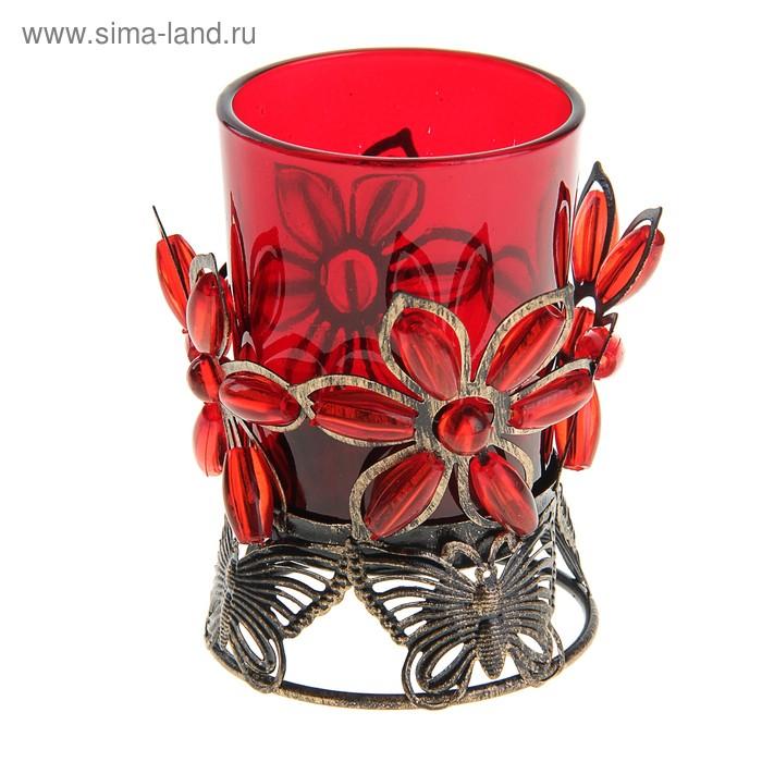 """Подсвечник """"Соцветие"""", цвет красный"""
