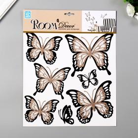 """Многослойные наклейки Room Decor """"Бабочка с блёстками"""" 30х32 см"""