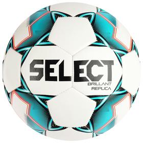 Мяч футбольный SELECT Brillant Replica, размер 4, 32 панели, PVC, машинная сшивка, белый/бирюзовый/чёрный