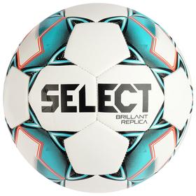 Мяч футбольный SELECT Brillant Replica, размер 5, 32 панели, PVC, машинная сшивка, белый/бирюзовый/чёрный