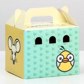 """Переноска """"Пижон"""" для птиц и грызунов, картонная, цветная, маленькая, 12,5 х 10 х 10 см"""