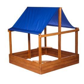 Песочница деревянная с крышей, 150 × 150 × 24/160 см, цветная, «Домик»