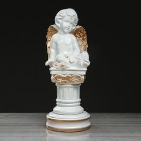 """Статуэтка """"Ангел на колонне"""" бело-золотой, 43 см"""