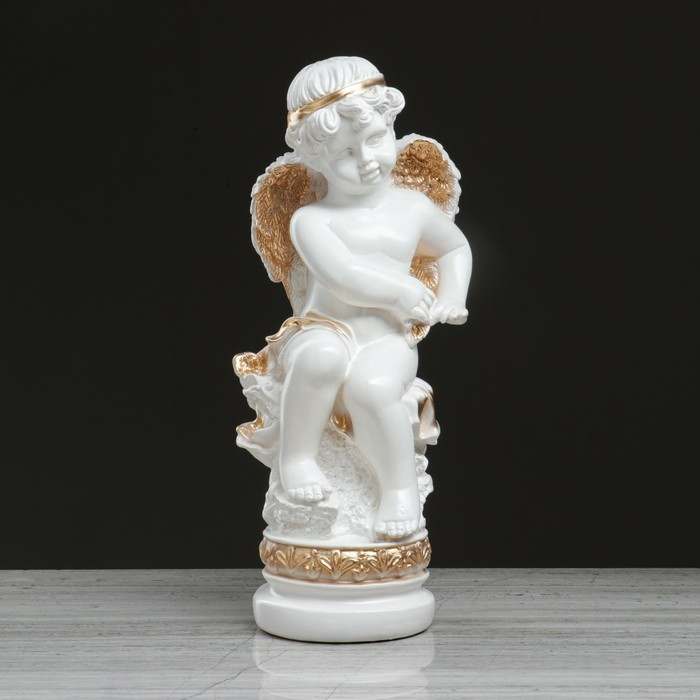 """Статуэтка """"Ангел на подставке"""", бело-золотой, 44 см - фото 491520"""
