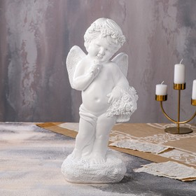 """Статуэтка """"Ангел с корзиной"""" белый, 47 см"""