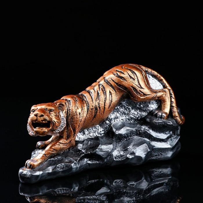 "Статуэтка ""Тигр на камнях"" бронзовый цвет"