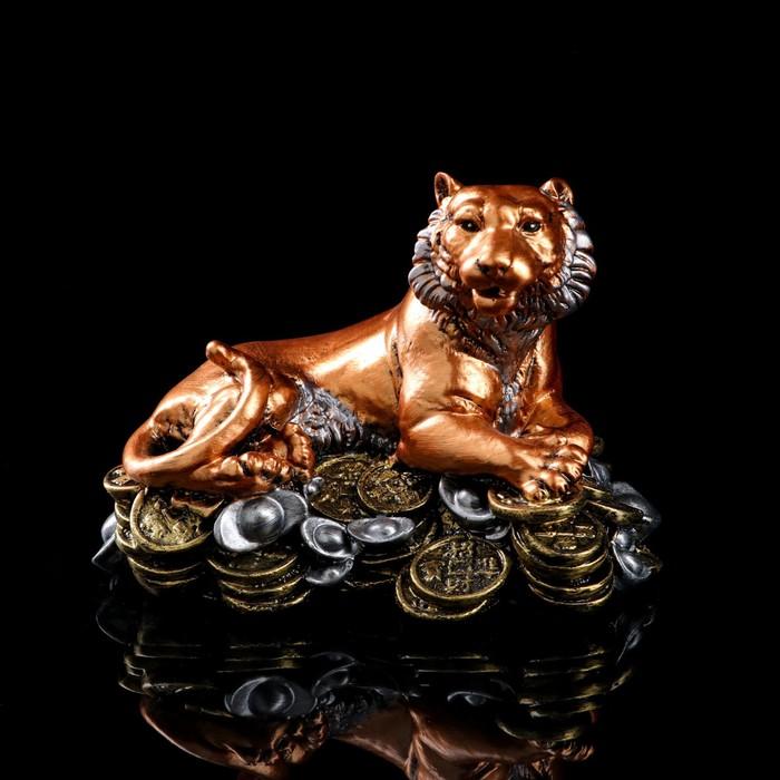 "Статуэтка ""Тигр на монетах"" бронзовый цвет"