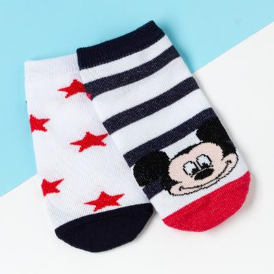 Набор носков, Микки Маус, 2 пары, белый, 16-18 см