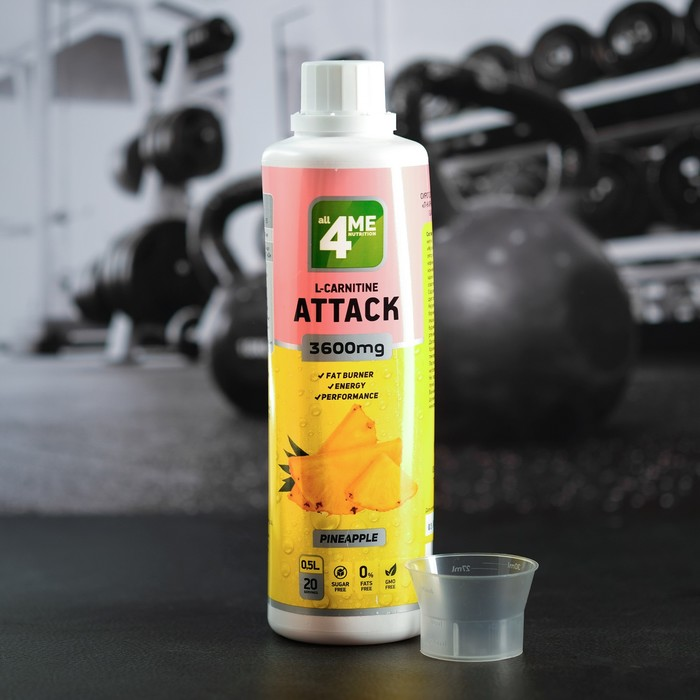 4Me Nutrition L-Carnitine + Guarana Attack concentrate 3600, ананас, 500 мл