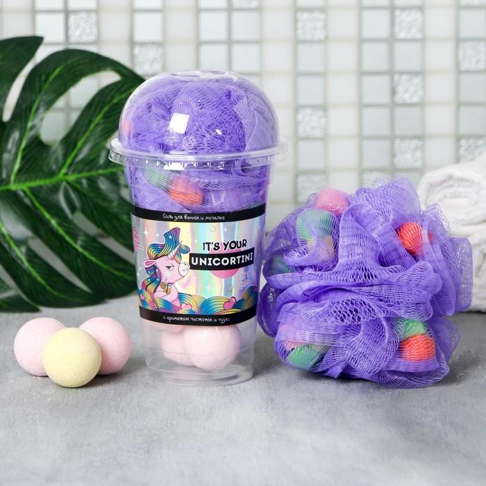 Набор It's your unicortini, соль для ванн 8 шт. и мочалка - фото 491545