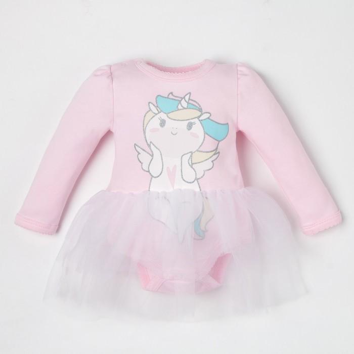 """Боди с юбкой Крошка Я """"Единорог"""", розовый,рост 62-68 см - фото 105479670"""
